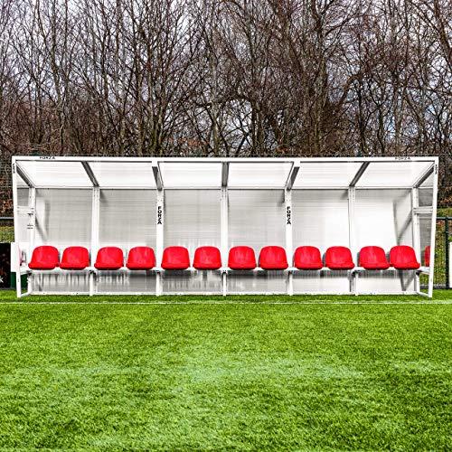 FORZA Aluminium Spielerkabine – robuster Auswechselbank, Trainerkabine aus Aluminium (Rot, 7m │ 14 Sitze)