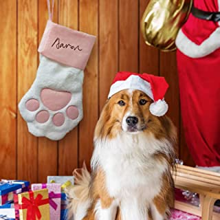 O-heart Pink Pet Dog Paw Christmas Stocking, Personalized Dog Stocking - DIY Your Puppy's Name On, Fireplace Hanging Stockings for Pet Xmas Gift Christmas Decorations, 18 x 11 Inches