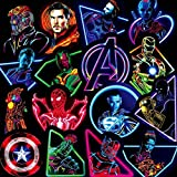 WOCAO Neon Marvel Super Hero The Avengers Pegatinas monopatín Nevera teléfono Guitarra Motocicleta PVC Pegatinas Impermeables 30 Piezas