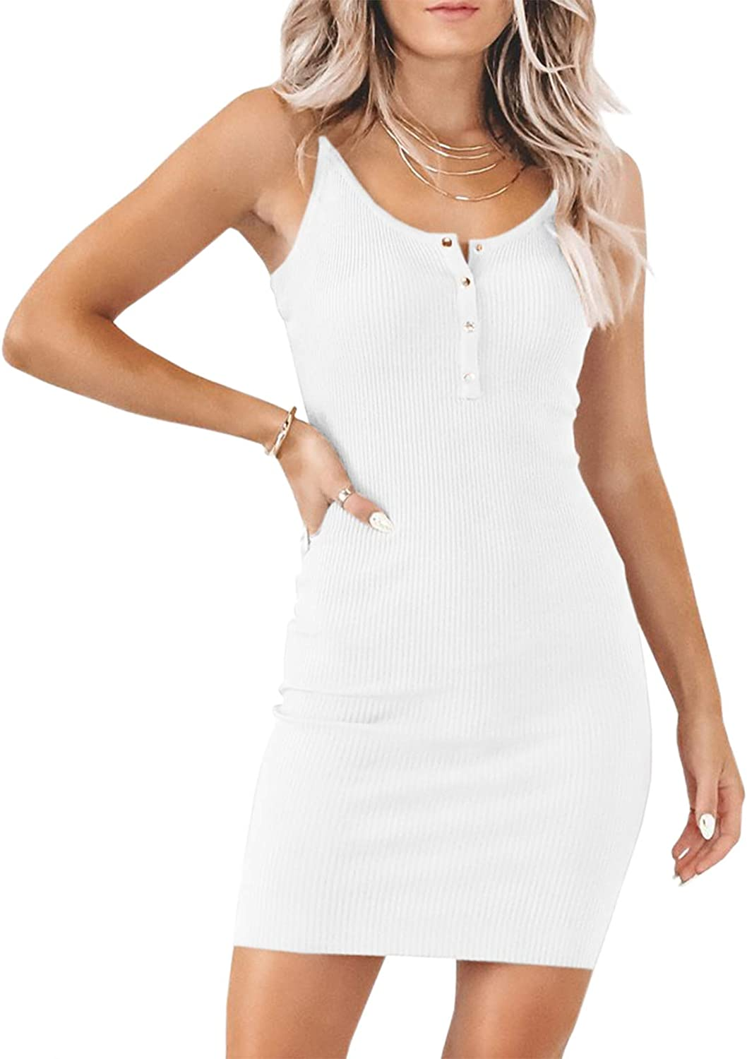 Soulomelody Women Summer Dress Cocktail Bodycon Sexy Party Tank Dress Button Down Cami Mini Dresses