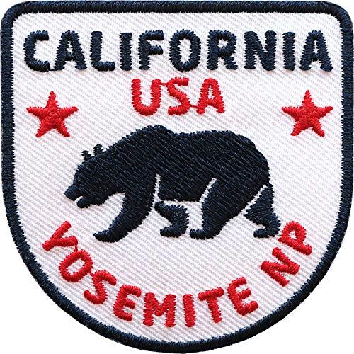 2 x California USA Patch gestickt 60 x 60 mm / Kalifornien Bär Yosemite Nationalpark Amerika Trekking Reise / Aufnäher Aufbügler Flicken Sticker Patches / Reiseführer Flagge Camping Wohnmobil (Weiss)