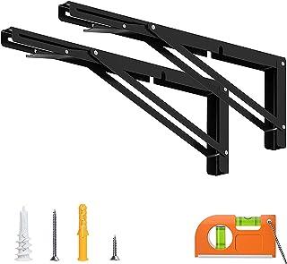 16 بوصة قوس قابلة للطي على الرف أو الجدول، الفولاذ المقاوم للصدأ الثقيلة، أقصى تحميل 300 رطل، أسود، 2 قطع Lzpzz