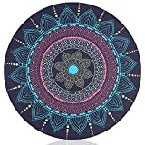 SAMONPOW Leather Mouse Pad Gaming Surface Normal Size Optimized for Office 8.7'' Circular Shape Dark Blue