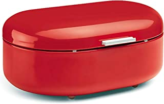 Bread Box Red, Carbon Steel, Large Capacity - Sturdy Food Storage Containers and Metal Bread Boxes for Kitchen Counters - Retro Countertop Breadbox for loaves   15.7 x 10.8 x 7 inches