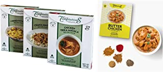 Chicken Tikka, Chana Masala, Butter Chicken, Potato Curry Indian Food Spices by Flavor Temptations. Home Cook Variety with...