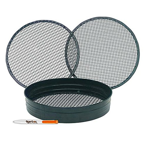 Tigerbox Premium Quality Powder Coated Steel Garden Riddle/Soil Sieve Set with 3/8', 1/4' & 1/2' Mesh. Includes Antibacterial Pen.