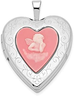 925 Sterling Silver 20mm Pink Agate Angel Cameo Photo Pendant Charm Locket Chain Necklace That Holds Pictures Fine Jewelry Gifts For Women For Her