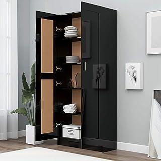 Tidyard Bibliothèque Polyvalente Armoire Haute de Rangement Noir Brillant 82,5x30,5x185,5 cm Aggloméré