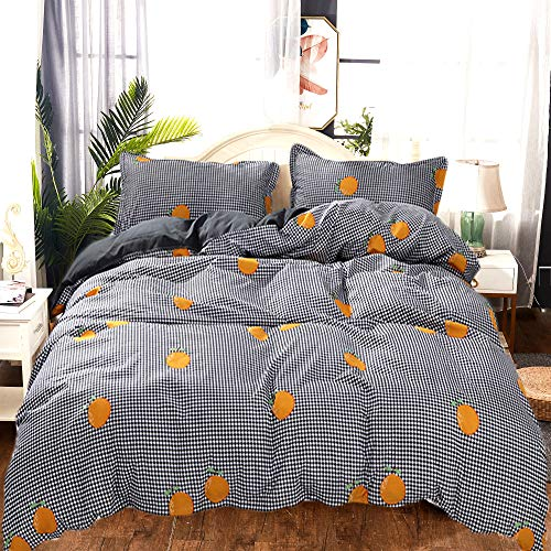 USTIDE Teenagers Duvet Cover Comfortable Microfiber Bedding Set Orange with Gird Reversible Duvet Cover Soft Skin-friendly Quilt Cover with Zipper Closure for Boys Girls with Pillowcase Double Size