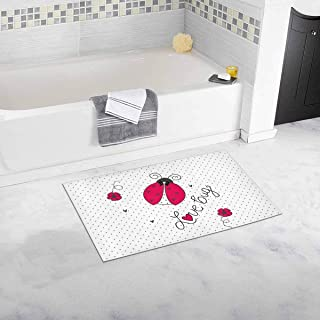 INTERESTPRINT Cute Ladybug on Polka Dots and Flowers Decor Non Slip Bath Rug Set Absorbent Floor Mats for Bathroom Tub Bedroom Large Size 20 x 32 Inches