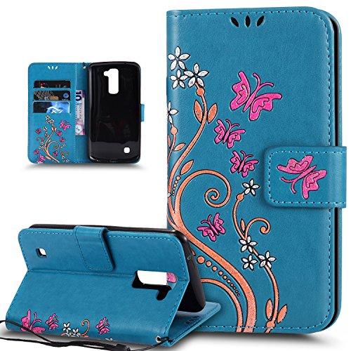 Coque LG K10, Etui LG K10, ikasus Peint coloré Embosser Papillon fleur Housse en Cuir PU Etui Housse en Cuir Portefeuille de Protection Flip Case Portefeuille Etui Coque pour LG K10,Bleu