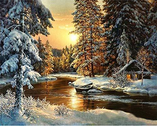 YEESAM ART Neuheiten Malen nach Zahlen Erwachsene Kinder, Schnee Wald Bäume Sonnenuntergang Fluss Landschaft 40x50 cm Leinen Segeltuch, DIY ölgemälde Weihnachten Geschenke (Bäume, Mit Rahmen)