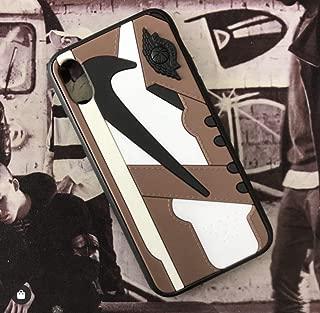 iPhone 3D AJ1 Travis Scott Cactus Jack 鞋套官方印花纹理减震保护运动鞋时尚手机壳 Iphone X/XS 棕色