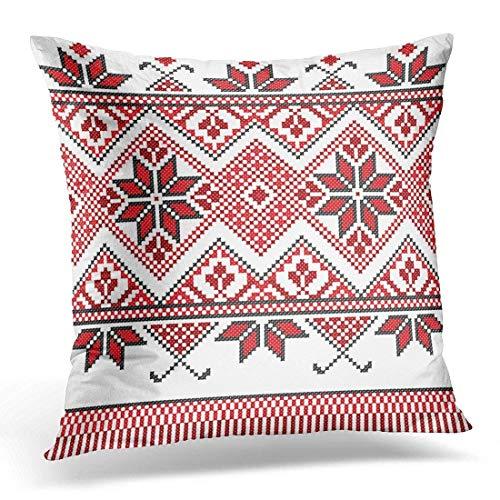 Hoedenfamilie Rode Folk Geborduurd Goed Zoals Cross Stitch Etnische Oekraïne Patroon Breien Decoratieve Kussen Case Home Decor Vierkant 18x18 Inches Kussensloop