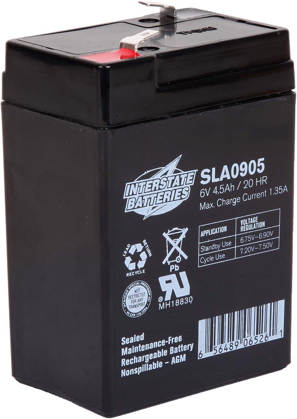Interstate Batteries 6V 4.5Ah Rechargeable Battery (SLA0905) Sealed Lead Acid Rechargeable SLA AGM (F1 Terminal) Blood Pressure Monitor, Oxygen & Pulse Meter, Medical Device, Deer Feeder : Electronics