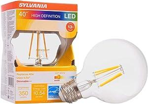 LEDVANCE 40180 Sylvania, 40W Equivalent, LED Filament Light Bulb, G25 Lamp, Medium Base, Efficient 4.5W, Soft White 2700K, 1 Pack, Clear, Clean Finish