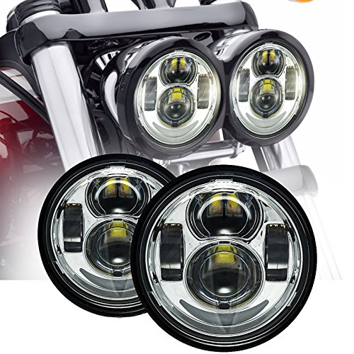 Esyauto LED redondo un par de faros 40W de 5 pulgadas luz de carretera luz de cruce Fat Bob FXDF luz de moto lámpara de motocicleta