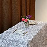 B-COOL Rosette Silver Tablecloth 3d Floral Tablecloth 60 x102 Inches Satin Rosette Tablecloths Table Cover Linens For Wedding Birthday Christmas Decor