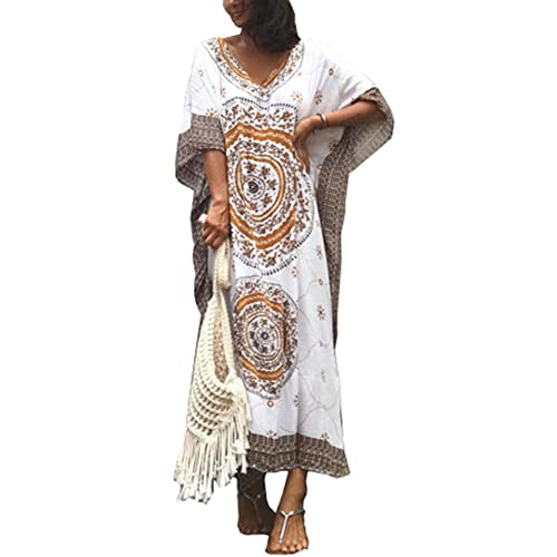 0c7d69d307 FreestyleMo Women s Oversized Maxi Kimono Ethnic Print Bikini Cover Ups  Beach Kaftan Dress
