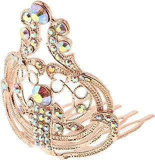 Flameer Sparkling AB Crystal Rhinestone Mini Crown Tiara Wedding Party Hair Jewelry - Rose Gold, 4 x 4.3 x 5 cm