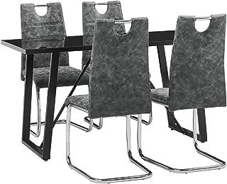 UnfadeMemory Conjunto de Mesa y Sillas de Comedor Restaurante,Mueble de Comedor Cocina,Sillas de Cuero Sintético 44,5x53x96cm (Sillas Negro y Mesa Negro, 5 Pzas,Mesa 140x70x75cm)