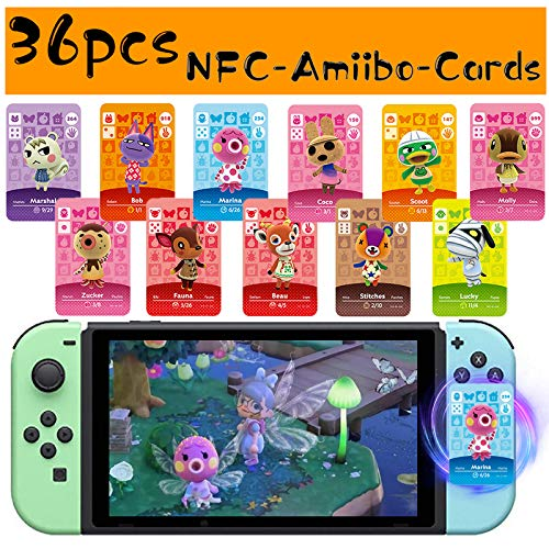 36Pcs Customized Villagers Cards for ACNH, Game Cards for Switch/Switch Lite with Storage Box