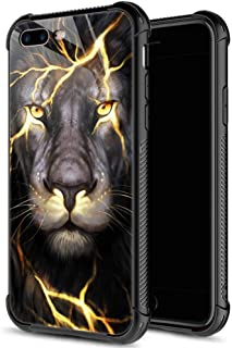 iPhone 8 Plus Case,9H Tempered Glass iPhone 7 Plus Cases Magma Lion for Boys Men,Soft Silicone TPU Bumper Case for iPhone 7/8 Plus inch 5.5 Magma Lion