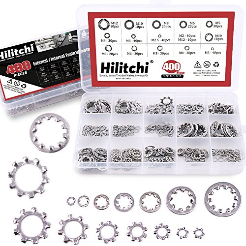 Hilitchi 400-Pcs [8-Size] 304 Stainless Steel External Internal Tooth Star Lock Washers Assortment Kit - Included: M2 M3 M4 M5 M6 M8 M10 M12