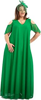 PARAISO CURVY Vestido de Fiesta Verde Brillante para Tallas Extra Grandes, Fabricado en España con el Tul-Lycra de Gimnasi...