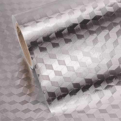 Adhesivo De Cocina A Prueba De Grasa, 0,6 M De Ancho, Papel Tapiz Autoadhesivo De Bricolaje Para Estufas, Papel De Aluminio Impermeable Para Cubrir, Papel De Vinilo Plateado Resi(Size:0.6×2m,Color:C)