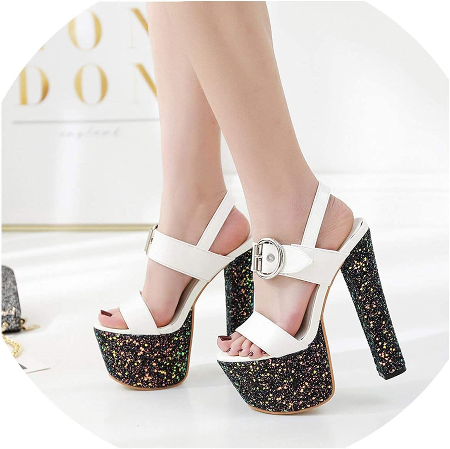 17Cm Super High Heels Thick Sandals Female Fish Mouth Waterproof Table Sequins Hate Days High Catwalk shoes