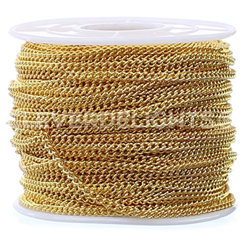 CleverDelights Curb Chain Spool - 2.2x3mm Link - Gold Color - 30 Feet - Bulk Chain