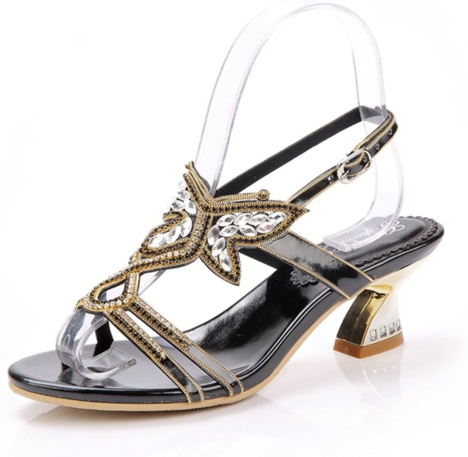 Jiang Women's shoes PU Spring Summer Fall Sandals Low Heel Rhinestone for Party & Evening Dress Sandals