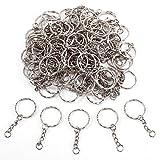50pcs/100pcs 25mm Llavero anilla con cadena plateado para Llave Hama beads regalo (100)