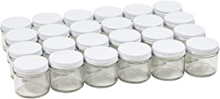 Pinnacle Mercantile 2 oz Glass Jars Containers Spice Straight Sided with White Metal Lids 24 ct case