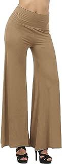 High Waist Pants Womens Summer Solid Casual Loose Flared Pants Elastic Waist Wide Leg Pants Women Trousers,Khaki,S,United States