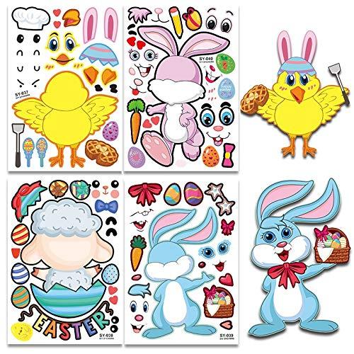 LSPLSP Nuevos Niños Pegatinas Fiesta Favores Juegos Pascua Huevos Diy Puzzle Juegos Lindo Animales Escuela Profesor Recompensa Niños Niños Juguetes
