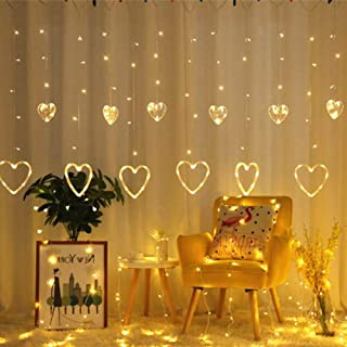 YMing Window Curtain String Lights, 138 LED 12 Hearts Connectable 8 Flashing Modes Decoration Fairy Lights for Christmas Wedding Party Patio Lawn, Warm White