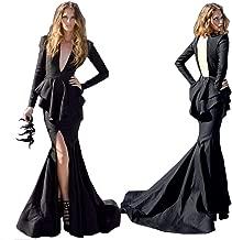 MariRobe Women's Mermaid Evening Dress Deep V Neck Backless Prom Dresses Long Sleeve Formal Party Dress Prom Gown