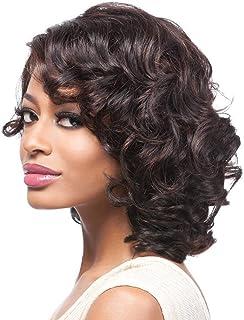 黒人女性のための短いウェーブのかかった髪のかつら12インチ、100%合成耐熱150%密度 (色 : ブラック)