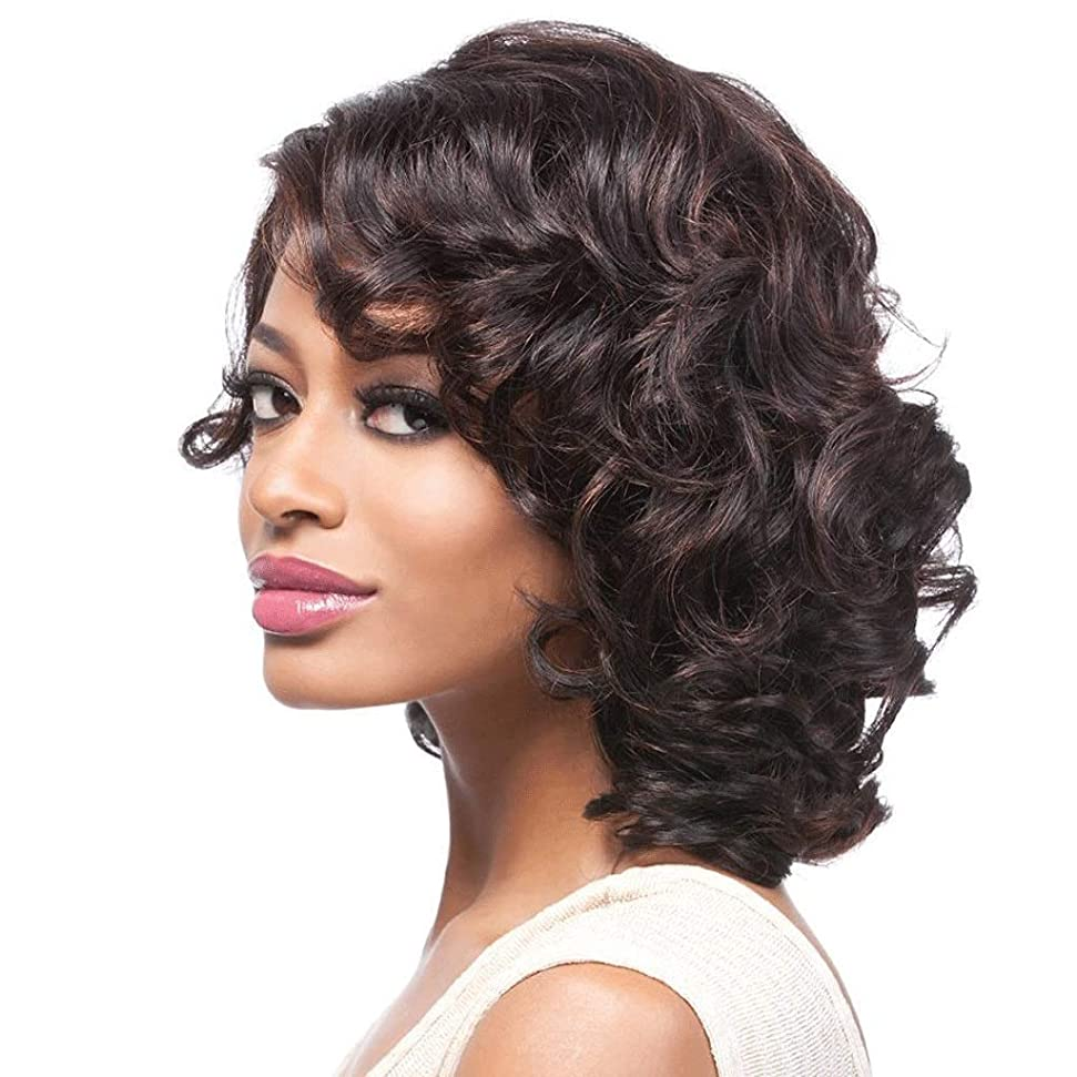 ローラーアセンブリ損傷黒人女性のための短いウェーブのかかった髪のかつら12インチ、100%合成耐熱150%密度 (色 : ブラック)