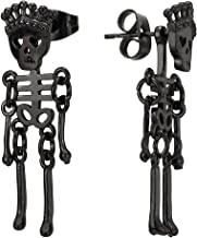 Mens Womens Stainless Steel Black Crown Skull Skeleton Bone Stud Earrings Drop Dangle, 2Pcs