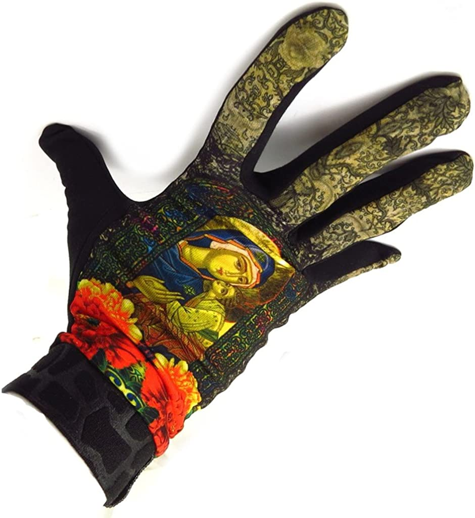 french touch' gloves 'Marushka' red golden multicoloured.