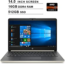 2019 Premium HP 14 Inch Laptop (AMD Ryzen 3 3200U 2.6GHz up to 3.5GHz, AMD Radeon Vega 3 Graphics, 16GB DDR4 RAM, 512GB SSD, WiFi, Bluetooth, HDMI, Windows 10 Home S) (Gold)