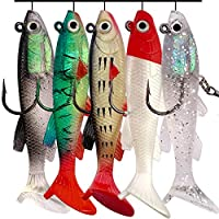 OPQ Fishing Lures Kit Set with Tackle Box Fishing Gear Equipment for Freshwater Trout Bass Salmon Fishing Baits Kit Including Frog Lure Spoon Lures CrankBait Jigs Topwater Lures (5pcs Soft Lures)