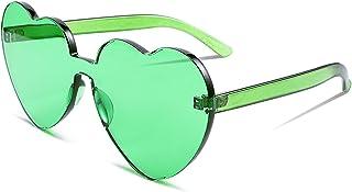 FEISEDY Hartvormige Zonnebril Een Stuk Stijlvolle Randloze Gekleurde Transparante Lens voor Dames en Heren B2419