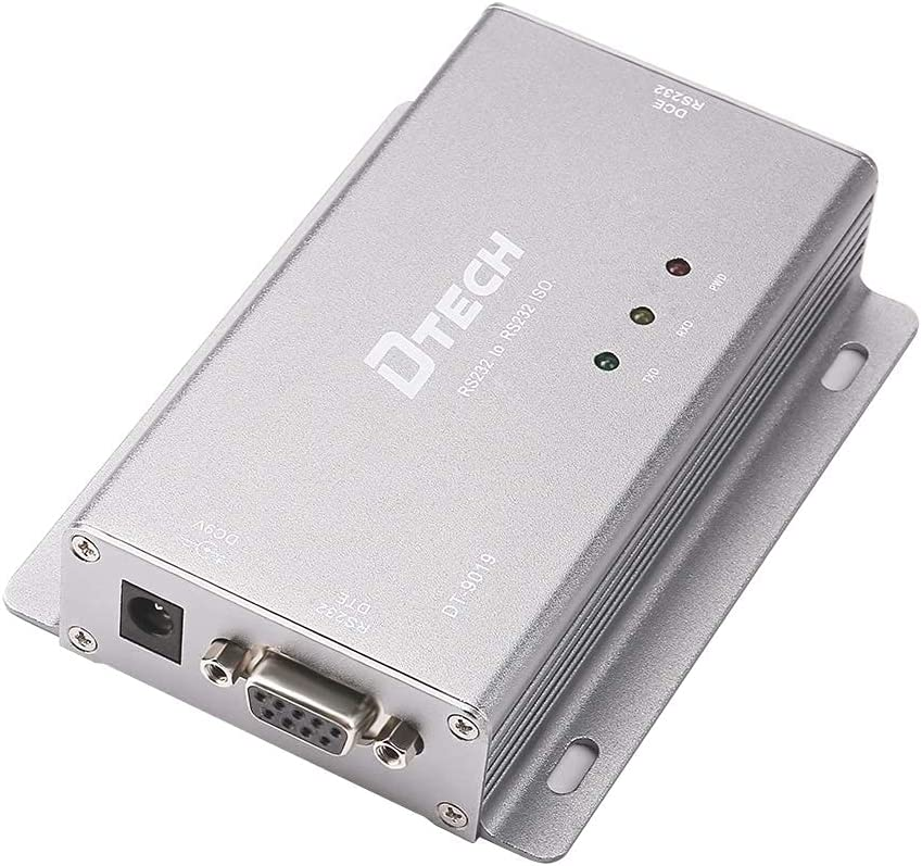 DTECH Fully Isolated RS232 Isolator Repeater DB9 RS-232 Serial Data Interfaces Optical Isolation with Power Adapter Protect RS232C Port Device for Harsh Industrial Applications