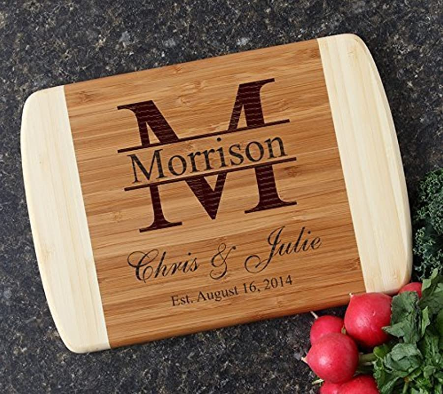 Personalized Cutting Board Custom Engraved Bamboo Cutting Board Monogram Design 24 Personalized Wedding Gift Bridal Shower Gifts Housewarming Anniversary