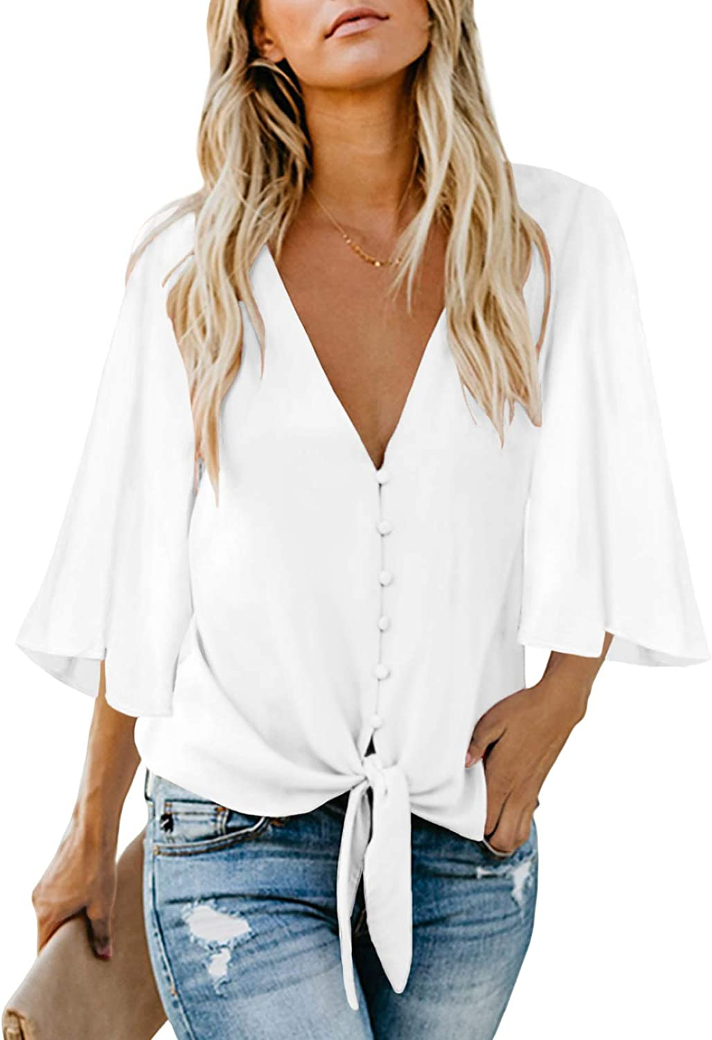 Zecilbo Women's Button Decoration Front Tie Knot Bell 3/4 Sleeve Shirt Tops V Neck Casual Loose Blouses
