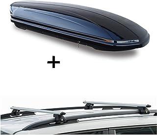 Dachbox VDPMAA320 320Ltr abschließbar schwarz + Dachträger CRV135 kompatibel mit Toyota Rav4 IV (5 Türer) ab 2013